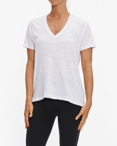 MONROW WHITE SLUB RELAXED TEE SHIRT