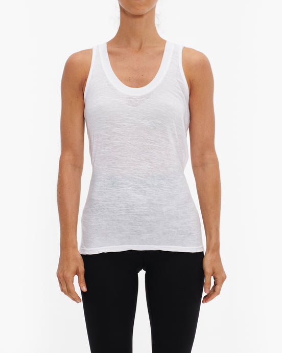 MONROW WHITE SLUB NARROW TANK