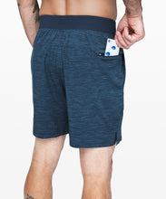 "Load image into Gallery viewer, LULULEMON T.H.E. SHORT 7"" - UNLINED - HEATHER ALLOVER IRON BLUE TRUE NAVY"