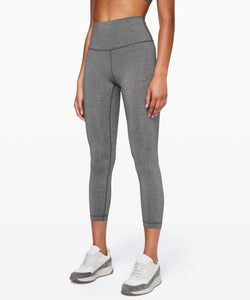 LULULEMON WUNDER UNDER HIGH RISE TIGHT 7/8 HEATHERED BLACK