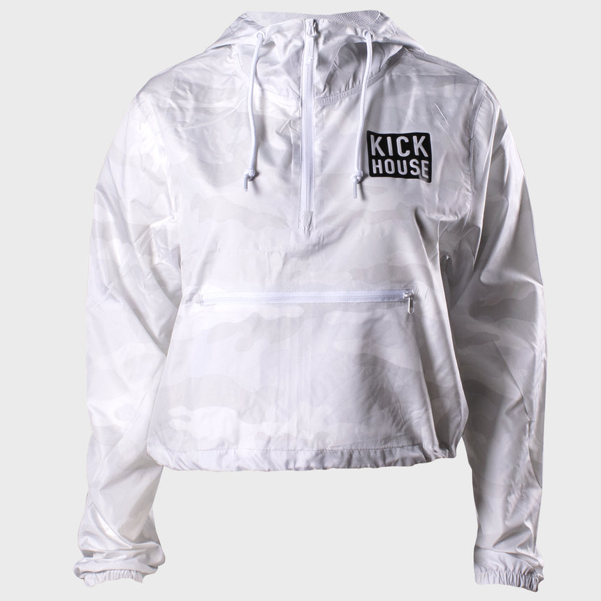 Stacked Logo Ladies Crop Windbreaker