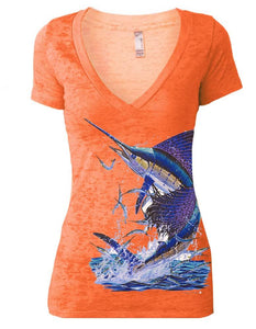 Women's Sailfish V-neck Burnout Tee - KnottyTails