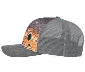 Grey Redfish Scale Snapback Hat