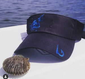 Knottytails Black & Blue Redfish Visor