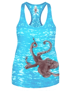Women's Octopus Burnout Racerback Tank