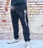 Navy Champion sports joggers, jogging bottoms with white logo, cuffed ankles and drawstring