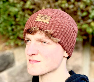Brown Timberland beanie / turn-up woolly hat with Timber Company logo sewn to the front
