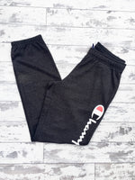 Charcoal grey Champion sports joggers, jogging bottoms with white logo, cuffed ankles and drawstring