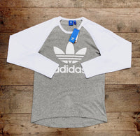Grey Adidas sports round-neck, long-sleeved tee shirt / Tshirt, with large, white, printed logo on the chest and white trim around the neck