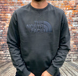 Thick, grey, round-neck, The North Face jumper, with large, embroidered, North Face logo on the chest in silver-grey and small embroidered logo on the reverse shoulder
