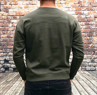 Thick, green, round-neck, The North Face jumper, with large, printed, North Face logo on the chest in a lighter green and small printed logo on the reverse shoulder