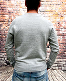 Grey, thick, round-neck Nike Air jumper, with large, printed Nike logo in navy on the chest and Air in white below