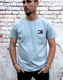 Grey, Tommy Hilfiger, round neck tee shirt, with small, embroidered logo on left of chest