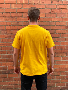 Yellow Champion round-neck tee shirt with blue embroidered logo across chest and C logo on sleeve