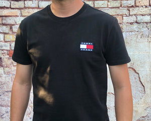 Black, Tommy Hilfiger, short-sleeved tee shirt, with small, embroidered logo on left of chest