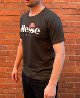 Khaki Ellesse sports round-neck tee shirt / Tshirt, with large, white, printed logo across the chest
