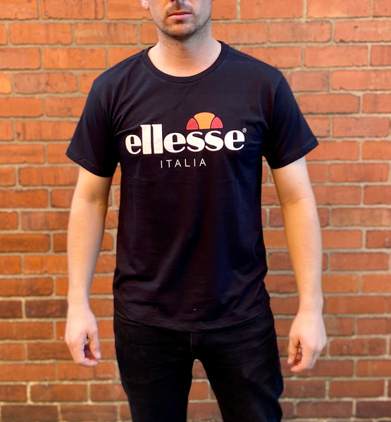 Black Ellesse sports round-neck tee shirt / Tshirt, with large, white, printed logo across the chest