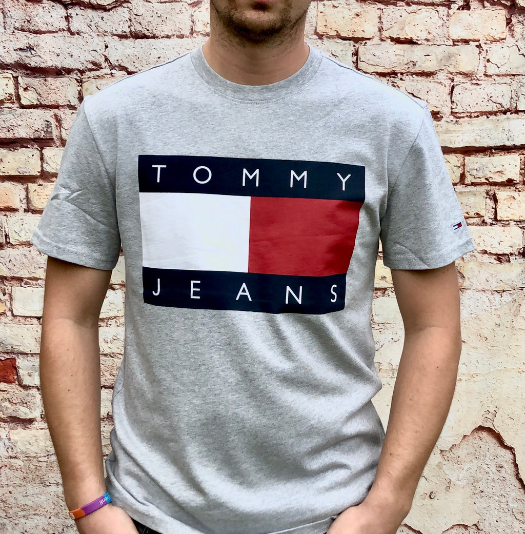 Grey, Tommy Hilfiger, short-sleeved tee shirt, with large, printed Tommy Jeans logo on the chest and embroidered logo on the sleeve