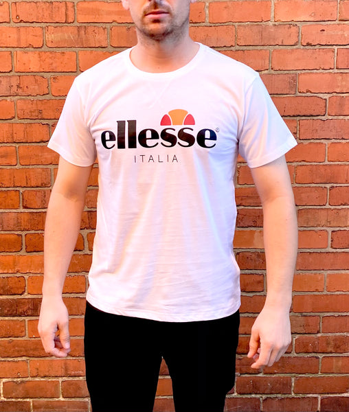 White Ellesse sports round-neck tee shirt / Tshirt, with large, black, printed logo across the chest