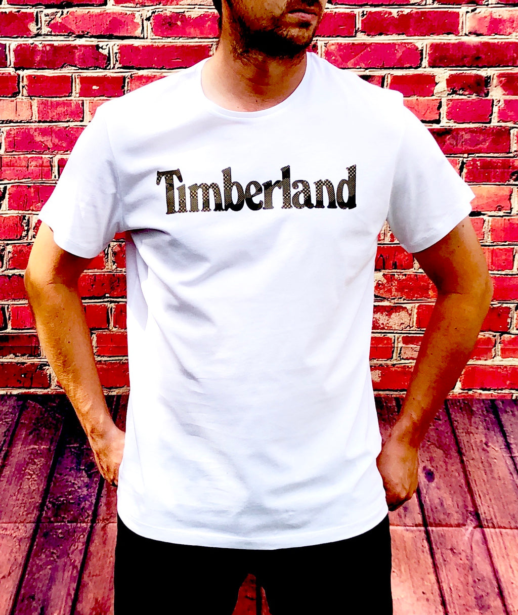 White Timberland round-neck tee shirt / Tshirt, with large, printed logo across the chest