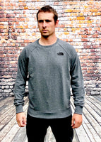 Thick, grey, round-neck, The North Face jumper, with small printed, North Face logo on the chest in black and small embroidered logo on the reverse shoulder