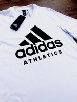 White Adidas sports round-neck tee shirt / Tshirt, with large, black, printed logo on the chest