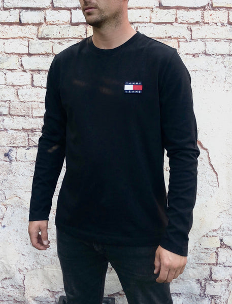Black, Tommy Hilfiger, long-sleeved tee shirt, with small, embroidered logo on left of chest