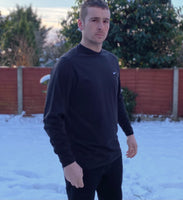 "Black Nike sports round-neck, long-sleeved tee shirt / Tshirt, with small embroidered Nike ""swoosh"" on the left chest"