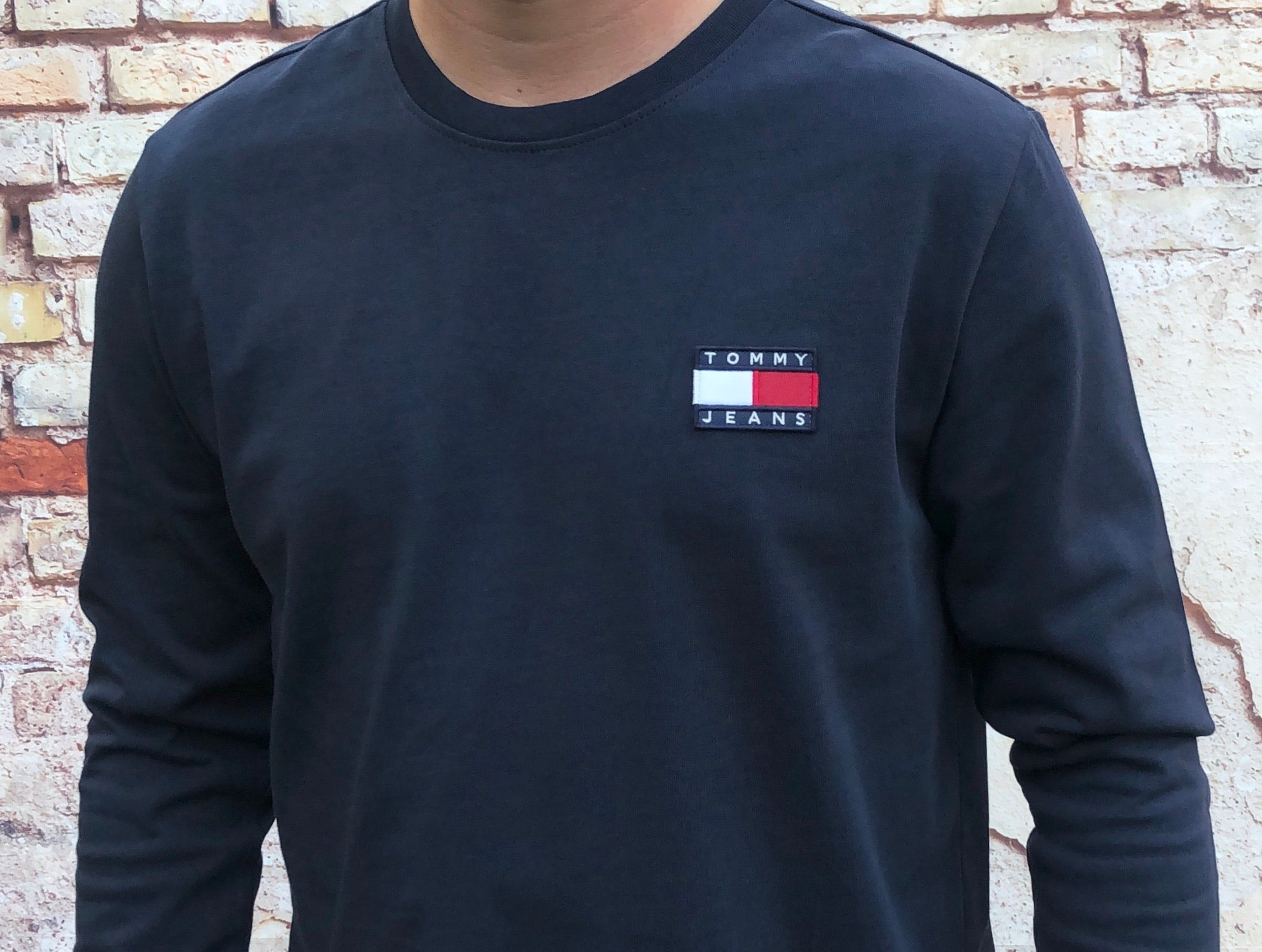 Navy, Tommy Hilfiger, long-sleeved tee shirt, with small, embroidered logo on left of chest