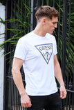 White Guess Tee Shirt with large, metal-grey, printed logo