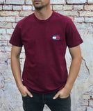 "Crimson Tommy Hilfiger round-neck tee shirt / Tshirt, with small, embroidered ""Tommy Jeans"" logo on the left of the chest"