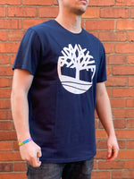 Navy Timberland round-neck tee shirt / Tshirt, with large, round, cream, printed logo across the chest