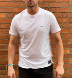 White, Tommy Hilfiger, short-sleeved tee shirt, with small, embroidered logo on left of chest