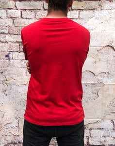 "Red Nike sports round-neck tee shirt / Tshirt in red, with black Nike ""swoosh"" printed across the chest"
