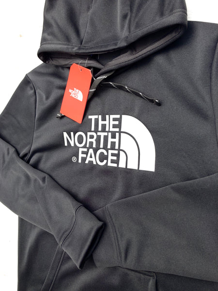 Grey The North Face hoody, with large, printed, North Face logo on the chest in white, with black drawstrings and front pockets