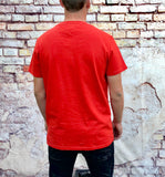 Red Tommy Hilfiger Jeans round-neck tee shirt / Tshirt, with small, embroidered Tommy Jeans logo on the chest
