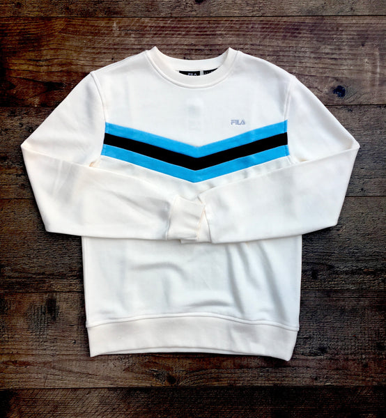 "Cream, round-neck, Fila jumper, with light-blue and brown bands across the chest in the ""V"" shape, and an embroidered Fila logo in silver on the left chest"