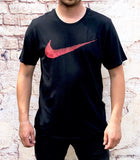 "Black Nike sports round-neck tee shirt / Tshirt in black, with large printed red Nike ""swoosh"" across the chest"