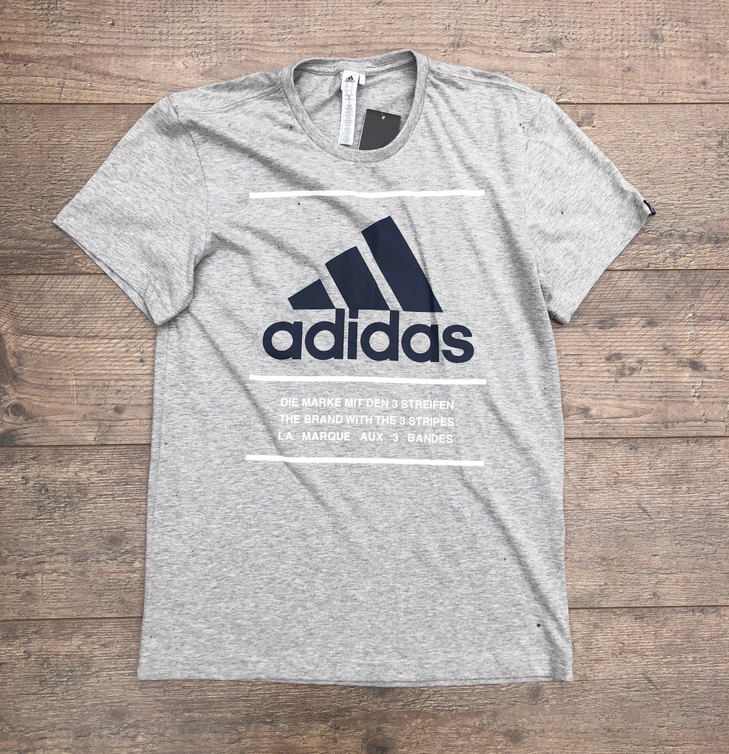 Grey Adidas sports round-neck tee shirt / Tshirt, with large, navy, printed logo on the chest and white detailing