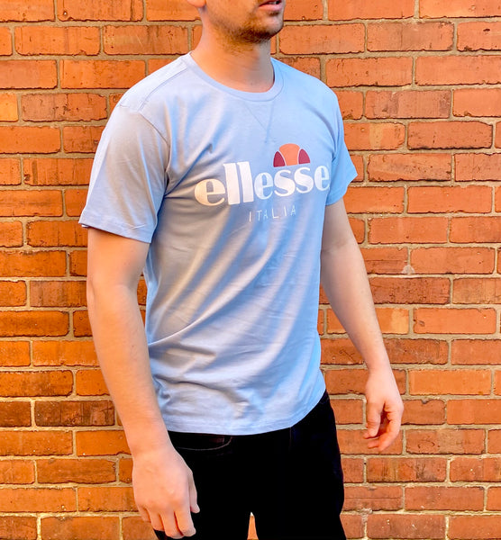 Baby-blue Ellesse sports round-neck tee shirt / Tshirt, with large, white, printed logo across the chest
