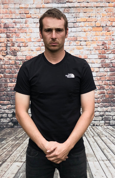 Black The North Face round-neck tee shirt / Tshirt, with small, white, printed logo on the left of the chest and small, white, printed logo on the reverse shoulder