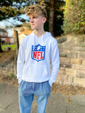 White NFL hoody, with large printed NFL logo on the front centre, side pockets and white drawstrings