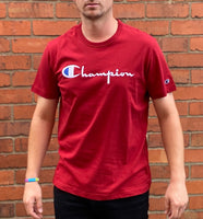 Red Champion round-neck tee shirt with white embroidered logo across the chest and C logo on sleeve