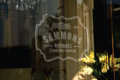 antique secondhand furniture store logo design and store window sign