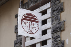 upcycled furniture logo design and sign