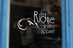 beauty salon and apparel logo design and store window sign