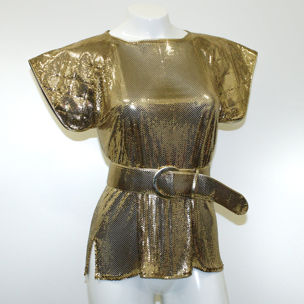 Whiting & Davis Vintage Gold Belted Blouse