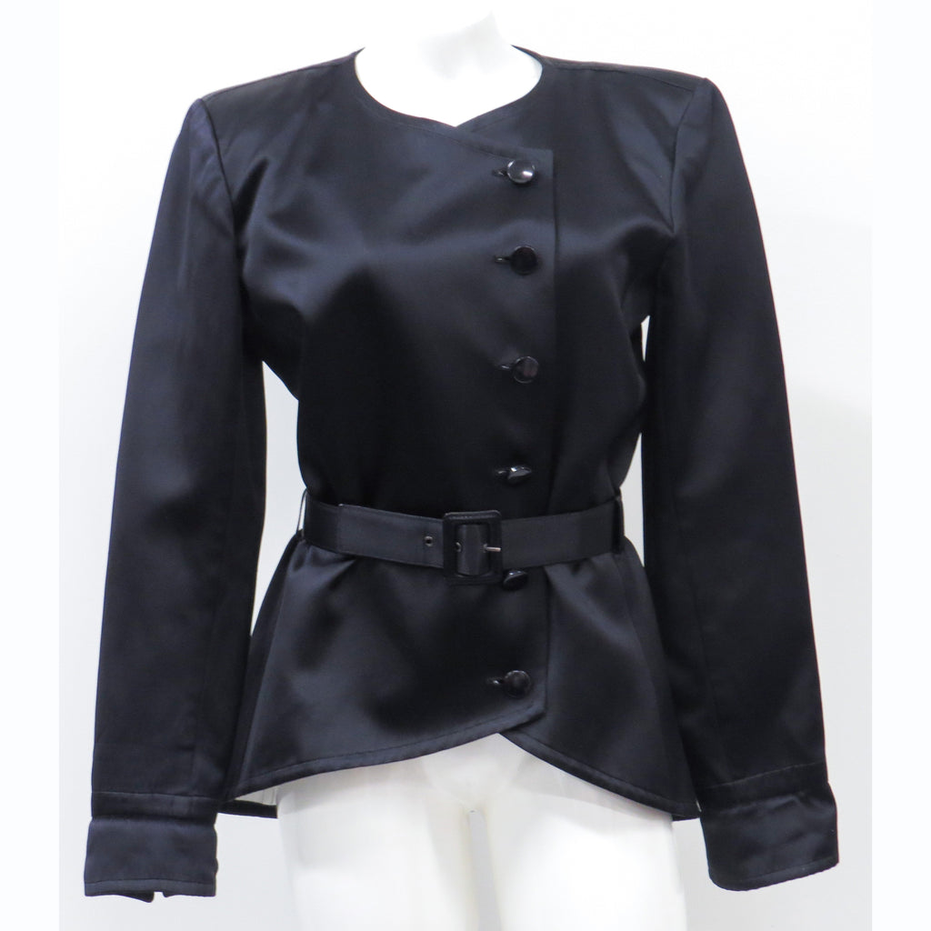 Silk Belted black jacket women's Saint Laurent