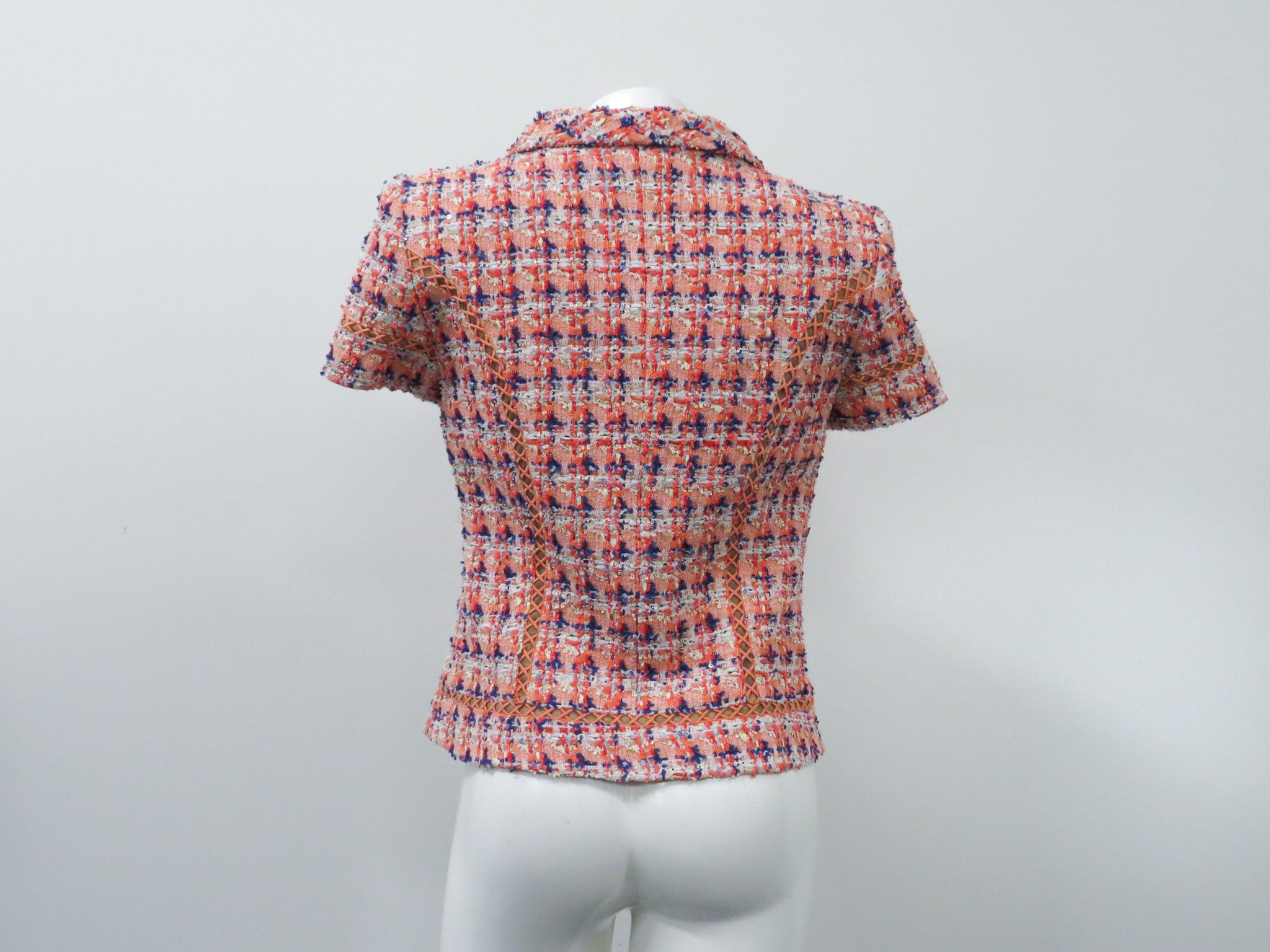 Short Sleeve Tweed Jacket Oscar De La Renta