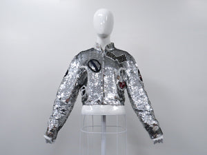 MODI Sequin Cropped Racing Jacket